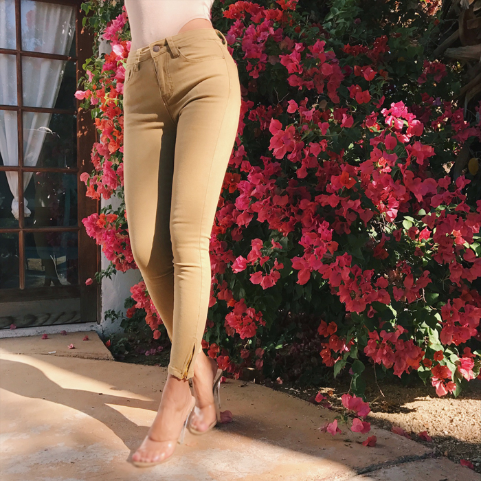 Women Skinny Jeans with Zip Side Hem 9 Colors Mid-Waist Side Zipper Pants Candy Stretch Twill Pencil Jeans