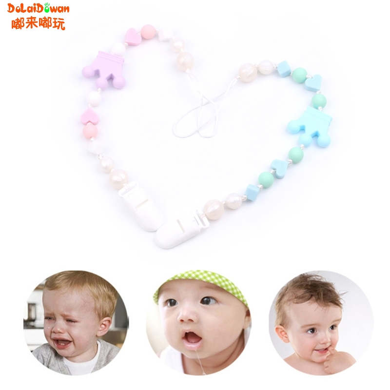 Baby Nipple Clip Soft Silicone Bead Teether Pacifier Crown Infant Soother Holder 36cm
