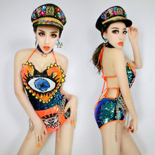 rainbow perspective sequins one piece paillette bodysuit costumes Queen female singer jazz dance stage wear show sexy costumes
