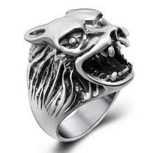 Vintage Wolf Head Finger Rings for Men Stainless Steel Mens Signet Rings Fashion Party Men Jewelry Retro Style Steel Ring SA385