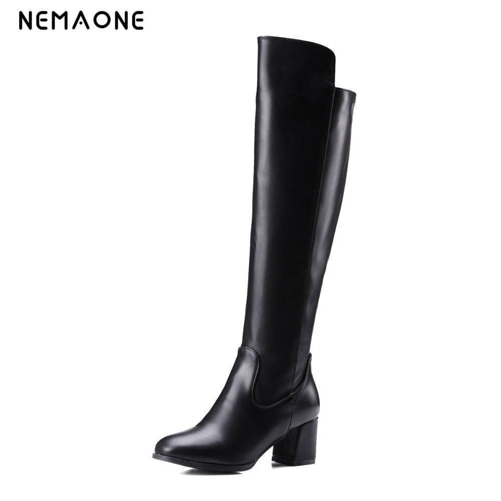 NEMAONE Plus size women motorcycle boots square high heels knee high boots women soft pu leather winter boots female shoes botas<br>