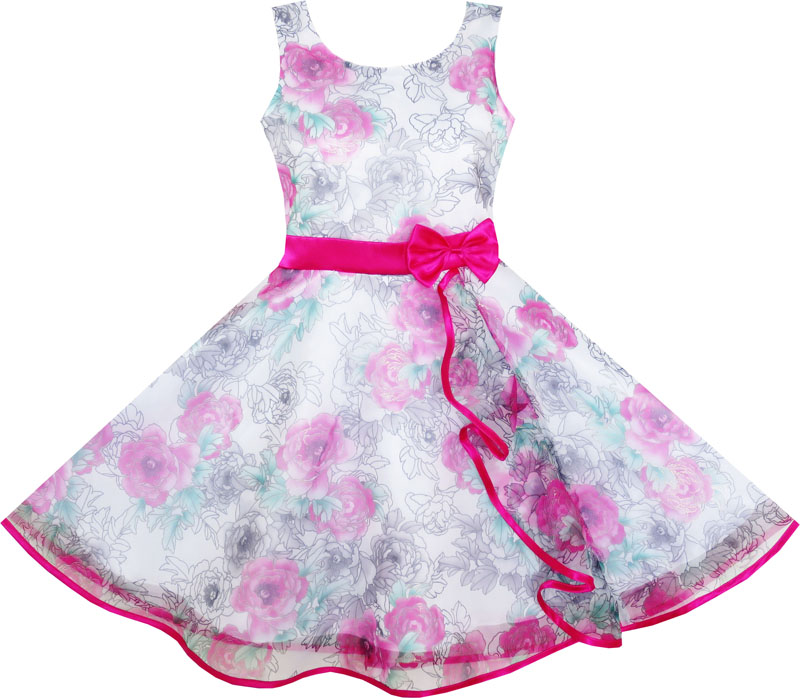 Girls Dress 3 Layers Hand Drawing Peony Flower Pageant 2017 Summer Princess Wedding Party Dresses Kids Clothes Size 4-12<br><br>Aliexpress