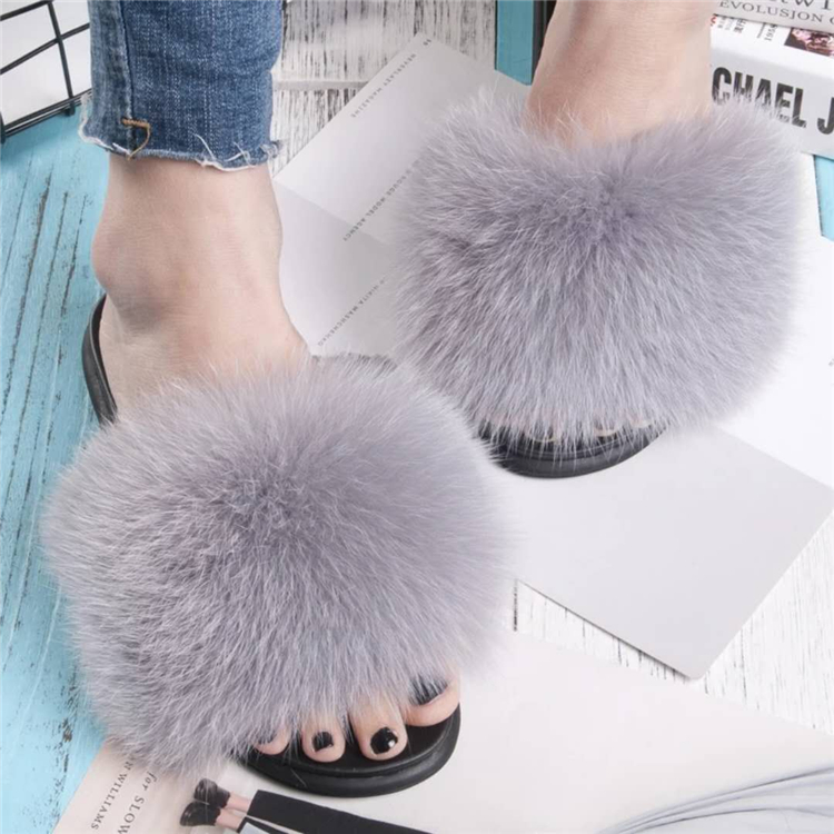fur slippers grey light 3