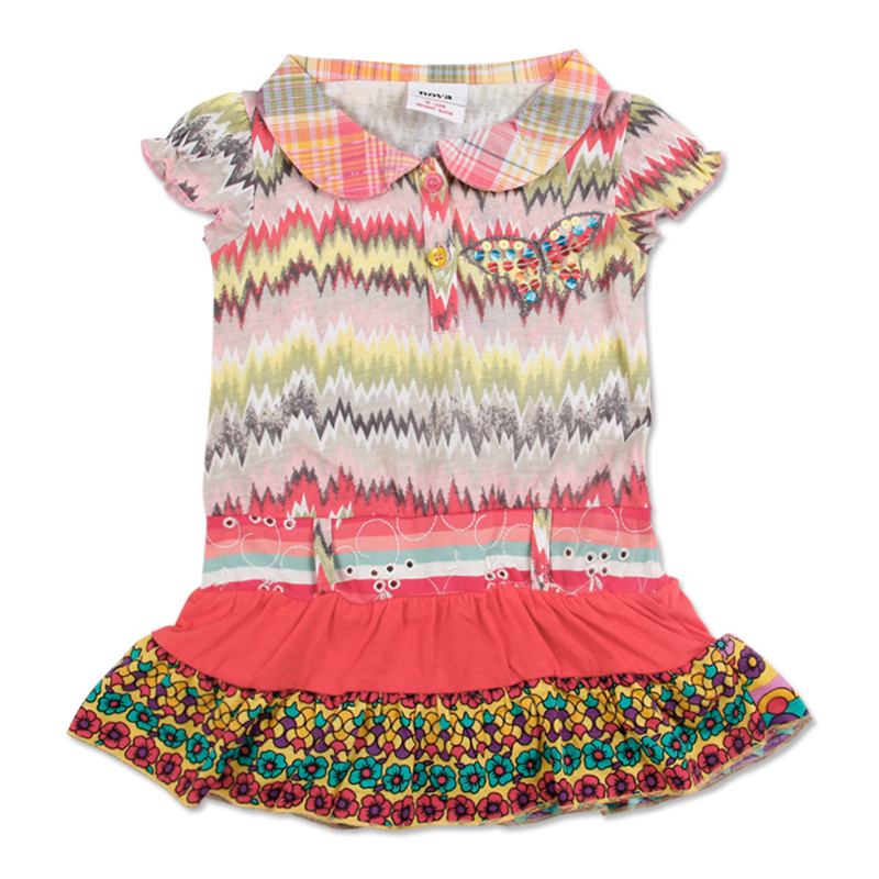 2015 pink new baby girls dress new design butterfly embroider with floral print  salmon cotton sleeveless summer girls dress<br><br>Aliexpress