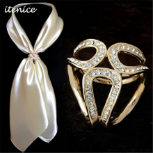 2016 Fashion Jewelry Gold Silver Crystal Scarf Brooch Wedding Brooch Scarf Clips Flower Lapel Pins Trendy Brooches For Women(China)
