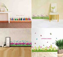 Baseboard wall stickers Decals  Country style green grass flower home decor for kis Nursery living room bedroom decoration