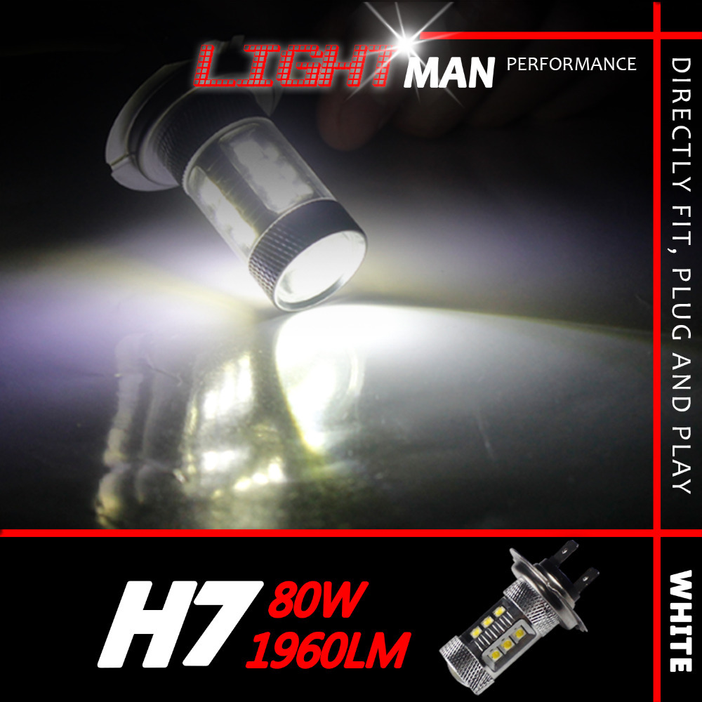 2x 80W H7 3900LM/Set High Quality Power Fog Headlight Driving Daytime Running Light Bulb Xenon White Led Projector Lens<br><br>Aliexpress