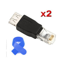 PROMOTION! 2 Pieces ethernet RJ45 male to USB female connector converter adapter +Free Cable Tie(China)