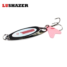 LUSHAZER spoon fishing lure 3g-22g spoon lure Treble Hook metal lure for fishing hard bait spinnerbait fly fishing Free shipping(China)