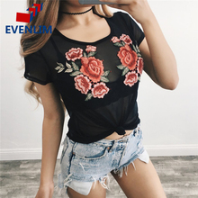 EVENLIM Summer T-Shirts For Women female Fashion Short Sleeve t shirt Embroidered Floral tshirt Sexy Perspective T Shirts DR0161