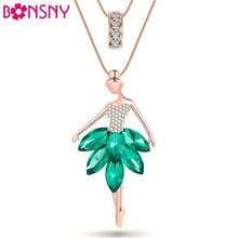 Bonsny Statement Maxi Alloy Enamel Dance BALLET Girl Fairy Angel  Necklace Chain Pendant 2017 Fashion New Enamel Jewelry Women