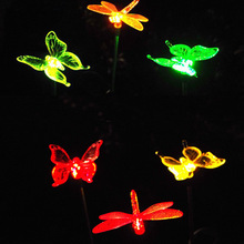 Solar butterfly lawn lamp dragonfly hummingbird to the lights garden decorative lights colorful discoloration(China)