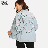 c064fc85468 Dotfashion Blue Embroidery Flower Appliques Denim Jacket Women Coats And Jackets  Casual Autumn 2018 Clothing Spring