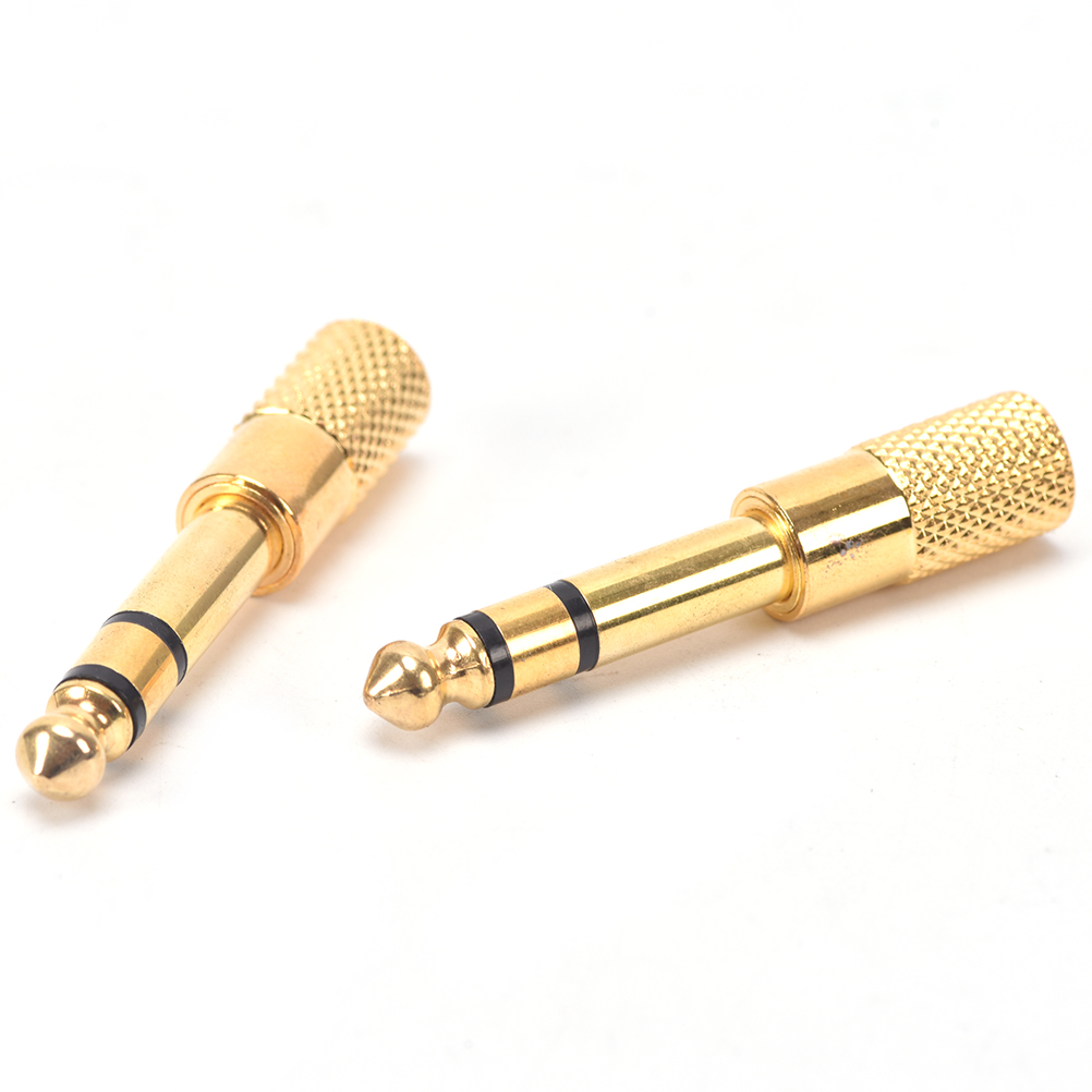 2 Pcs  Stereo 6.35 Revolution 3.5 Female Audio Adapter Jack Adapter Plug Adapter Jack Converter Gold Plate For Microphones