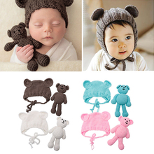Newborn Baby Girl Boy Photography Prop Photo Crochet Knitted Cap Hats + Costume Bear Props Set Baby Beanie Photo Accessories D30(China)