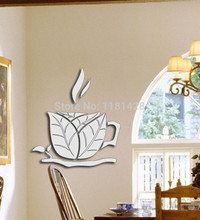 Free shipping coffee cup decorative mirror stickers , 3D miror wall sticker decoration(China)
