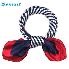 Womail The most Hot Satin Silk Square Scarf Women Fashion Four Seasons Occupation Stripe Silk Satin Scarves Bandana  Silk scarf