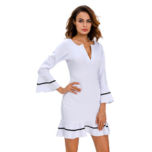 LC2273E New Arrivals Woman Fashion Clothes Long SLeeve Elegant Dress for Ladies Vintage White Party Fall Dress(China)