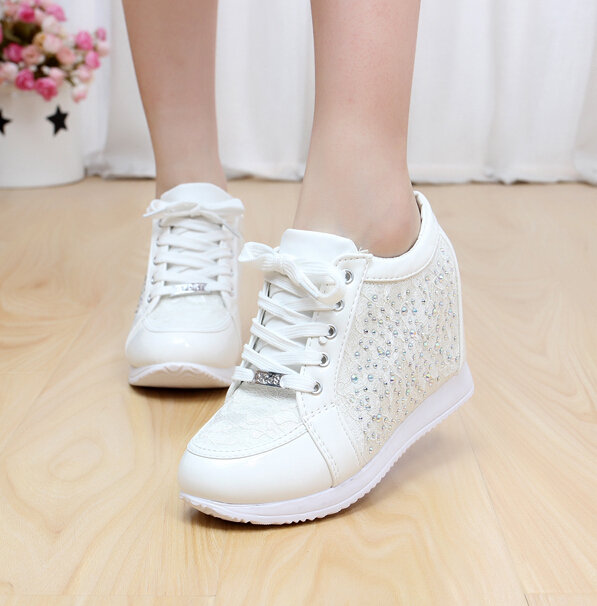 Hot Sales New 2017 Spring Black White Hidden Wedge Heels Casual Shoes Womens Elevator High-heels boots For Women Rhinestone<br><br>Aliexpress