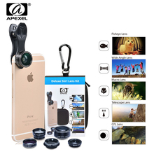 Buy APEXEL Universal Clip 5in1 Mobile Phone Lens Kit Fish Eye Wide Angle Macro 2X Telephoto CPL Lenses iPhone 6 7 8 X Smartphone for $11.18 in AliExpress store