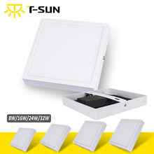 T-SUNRISE LED Surface Downlight Panel 8W 16W 24W 32W Round/Square LED Ceiling Recessed Light with Black Heat Radiator SMD 4014