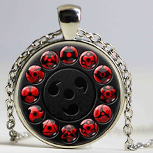 Japan anime NARUTO Jewelry Uchiha Sasuke Sharingan Necklace Uzumaki Naruto Red Eye Photo Pendant Ball Necklaces Handmade Jewelry