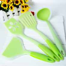 100% food grade kitchen tools 4 Piece Heat Resistant Cooking Utensil Set Non-Stick Silicone Color Random()
