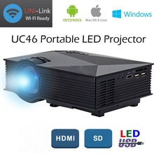 UC46 Mini LCD LED Portable Projector with 2.4G Wireless Wifi 1200 Lumens Full HD 1080P Media Player IR/USB/SD/HDMI/VGA DHL 2pcs