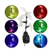 garden decoration Solar powered outdoor Led Light Bird Butterfly Dragonfly Solar lamp Landscape Multi-color lampe