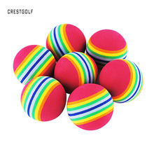 CRESTGOLF 10pcs Per Pack Rainbow PU Foam Golf Balls Stripe Practice Balls Sponge Practice Balls Backyard Golf balls(China)