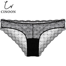 Buy CINOON Sexy Briefs Women Transparent Underwear Full Lace Panties Hollow Lingerie Seamless Cotton Breathable Panty Plus Size