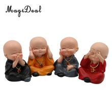 MagiDeal 4Pieces China Kung fu Monk Figurine Car Interior Ornament Feng Shui Forturn Lucky Home Decoration Creative Gift