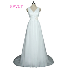 Buy Backless Vestido De Noiva 2017 Wedding Dresses A-line V-neck Tulle Lace Flowers Cheap Boho Wedding Gown Bridal Dresses for $63.99 in AliExpress store
