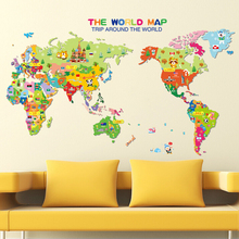 kids bedroom 3d cartoon world map wall sticker removable baby room wall art decal wall pictures for living room
