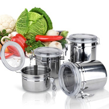 Home Stainless Steel Airtight Sealed Canister Nut Milk Powder Container Candy Jar Tea Canister Coffee Pot(China)