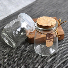 2 pcs 7.5cm 100ml Wish Bottles Glass Bottle With Cork For Christmas Wedding Decoration Pudding Candy Gifts Glass Storage Jars(China)