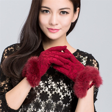 New Designer Brand Women's Gloves Wool Knitted Winter Gloves Hand Warmer Ladies Mitten for Girls Touch Screen for the Phone(China)