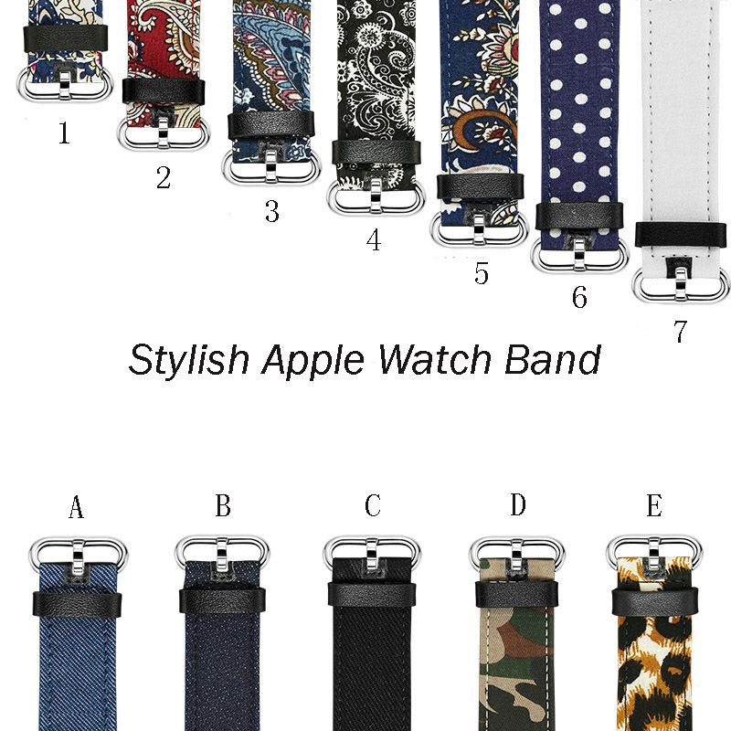 Hot sale stylish band for apple watch real leather national style jeans camouflage wave point band for i watch hot sale<br>