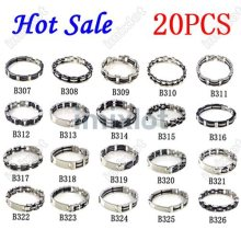 Buy 20pcs/lot Rubber 316L Stainless Steel Bracelet Charm Men Bracelet jewelry Mixed Kind Bangle Cuff Wholesale Free ) for $36.36 in AliExpress store