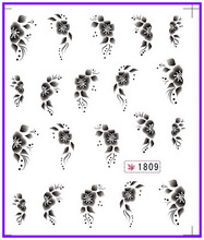 6 PACK/ LOT GLITTER WATER DECAL NAIL ART NAIL STICKER BLACK FLOWER CHERRY BLOSSOM ACTINIA SY1809-1814(China)