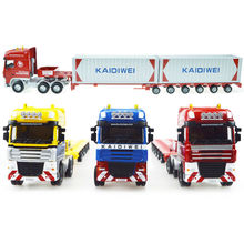 2016 latest unique toys, collectibles truck alloy model 1:50 heavy telescopic flatbed truck container truck