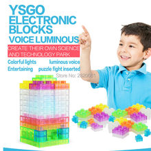voice-control/touch-control luminous electric building blocks science kit,kid's DIY assembled education integrated circuit block(China)