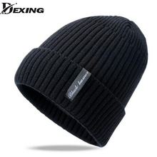 [Dexing]Men's fur lining Thicken Skullies Winter Wool Knitted Hat Male Beanies Cap Casual Solid Color Simple Hats For Men