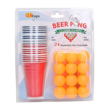 24 Cups 24 Balls Beer Pong Balls Set Classic Drinking Game for Table Tennis & Ping Pong Tournaments Carnival Games Board Game