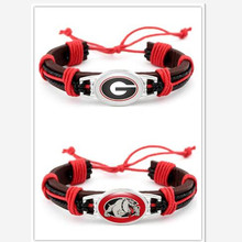 Mix Different Style Georgia Bulldogs College Genuine Leather Bracelet Adjustable Leather Cuff Bracelet For Men and Women 10PCS(China)