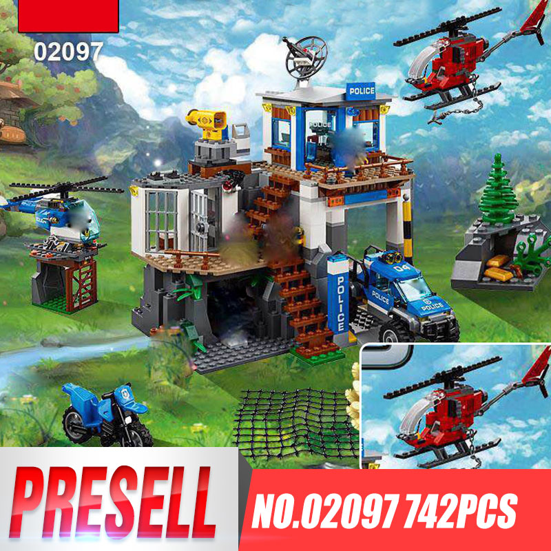 Lepin 02097 New 742Pcs City Series The Mountain Police Headquater Set 60174 Building Blocks Bricks Toys Model As Gifts For Kids <br>