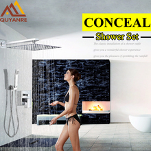 Stainless Steel Concealed Shower Set Faucet Square Chrome Rainfall Shower Head Mixer Tap With HandHeld Shower Sprayer Mixer Tap