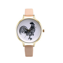 New Casual Woman watch Retro Design Lovely Cock Leather Band Analog Alloy Quartz Wrist Watch Hot market bayan kol saati relogios(China)