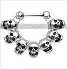 Hot Jewelry Piercing Wholesale Titanium Steel Nose Ring Macabre Skulls Septum For Clicker Stud Piercing 10pcs