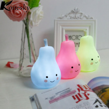 Konesky Candy Color Pear Shape LED Night Light  Children Silicone Light-Up Toys Kid Room Decorated Pear Night Light Lamp